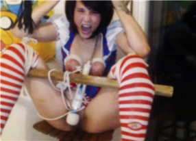 Brunette has many orgasms while practicing BDSM on cam <!-- width=