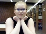Blonde chubby girl undress in the library