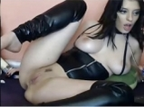 Dark haired girl in sexy lingerie teases on webcam