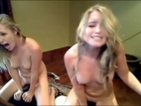 Two blonde girls rides on sybian