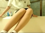 Young Korean girl undressed school dress and masturbates