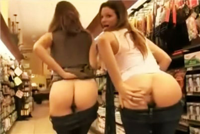 Crazy girls pussy flashing in store