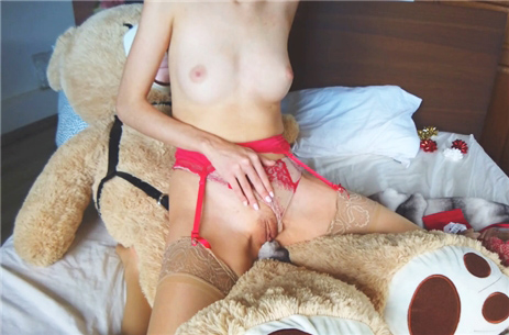 Horny girl humping her teddy bear <!-- width=