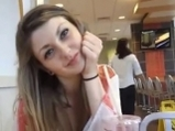 Crazy teen flashing tits and rubs pussy at McDonald's