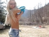 Blonde and stripping in the mountains <!-- width=