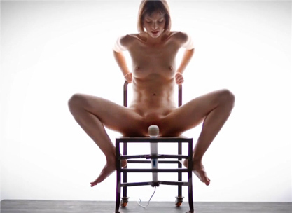 Skinny girl masturbate on special chair with hitachi <!-- width=