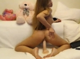 Russian blonde plays with dildo