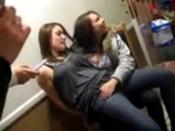 Crazy girls fingering at a party