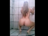 Blonde selfshot ass shake in the shower <!-- width=
