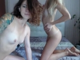Skinny blonde and brunette with tattoos on cam show