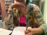 College girl plays with nipples at their school library