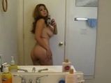 College girl selfshot naked teasing in the bathroom