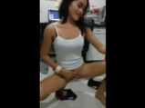 Asian girl striptease show for her colleague at work <!-- width=