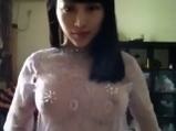 Chinese girl in sexy transparent blouse