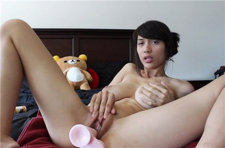 Anal riding and creamy masturbation with dildo <!-- width=