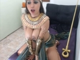 Cosplay Egyptian Princess teases with big boobs <!-- width=