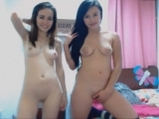 Two sweet naked girls shows tits shaking