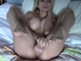 Blonde cam goddess masturbates with big dildo and squirts