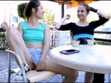 Teasing and playing with pussy in the restaurant garden