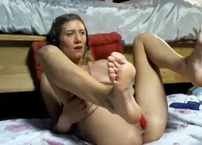Blonde toying with legs up