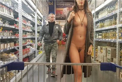 Sexy girl without underwear walks in the supermarket <!-- width=