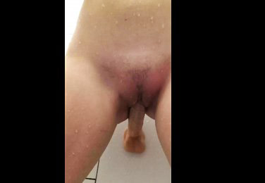 Closeup masturbation with wall mounted dildo