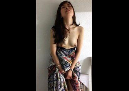 Asian girl standing masturbation