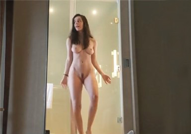 Busty brunette naked dancing in the shower <!-- width=
