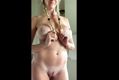 Busty babe riding on big dildo and then gives blowjob <!-- width=