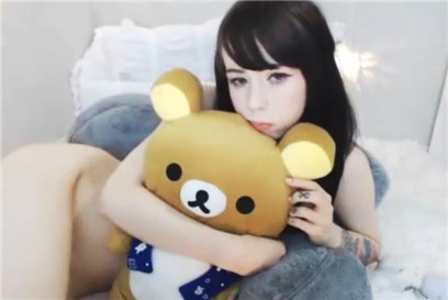 Slender teen with her teddy friend <!-- width=